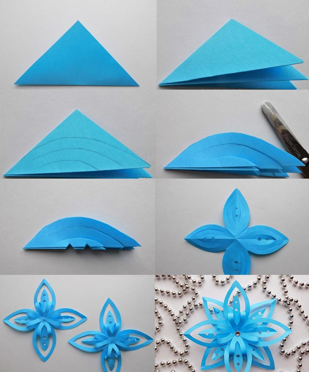 Как сделать снежинку объёмную из бумаги своими руками поэтапно