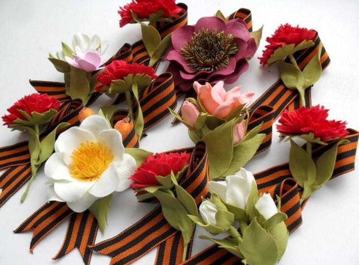 Надписью, цветы из фетра на открытку к 9 мая