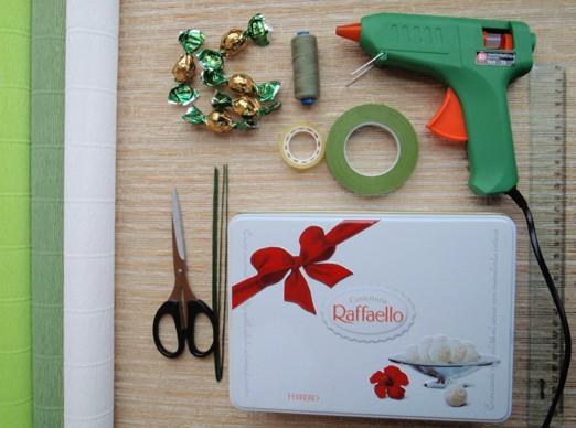 1materialu Букет из конфет осенний мк. Осенний букет из конфет в корзине: МК с фото и видео