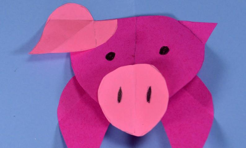 Свинка открытка объемная