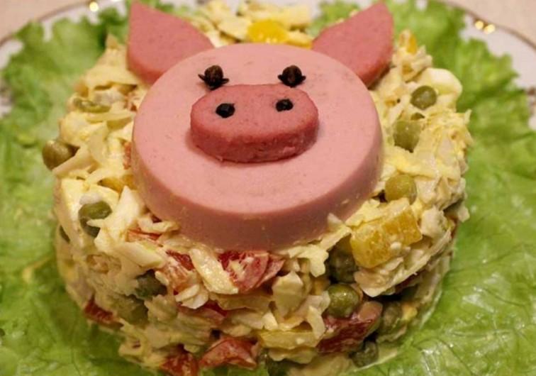 картинки как делается салат в виде свинки рецепт