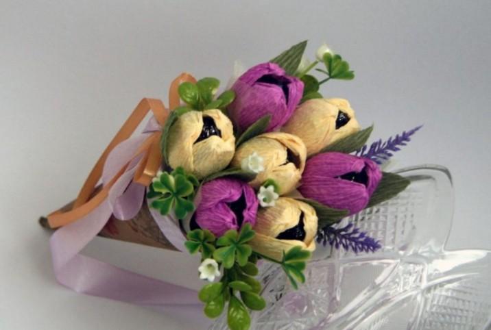 Тюльпаны для открытки из бумаги